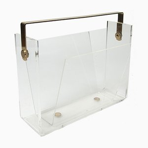 Vintage Lucite & Brass Magazine Rack by David Lange, 1970's