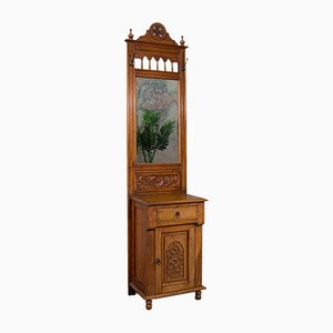 Tall Edwardian Revival Walnut Hall Stand with Mirror, 1980s