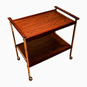 Chrome and Mahogany Two Tier Angular Cocktail Trolley, 1970s