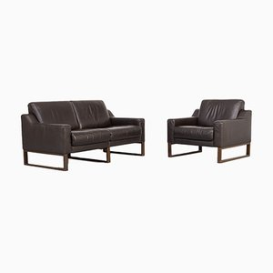 Brown Leather 2-Seat Sofa & Armchair, 1990s, Set of 2