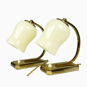 Mid-Century Brass & Glass Bedside Lamps, Set of 2