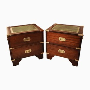 Mahogany Military Campaign Chests with Leather Tops, Brass Corners & Flush Handles, 1950s, Set of 2