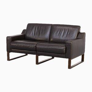 Brown Leather 2-Seat Sofa, 1990s