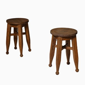 Vintage Arts and Crafts Oak Stool from Harold & Sheldon Ltd Birmingham
