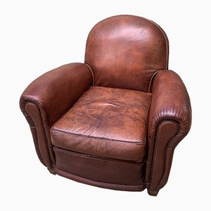 Art Deco French Leather Club Chair, 1940s