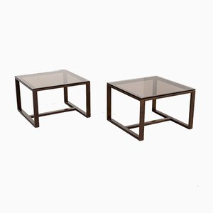 Smoked Glass Square Coffee Tables, 1990s, Set of 2