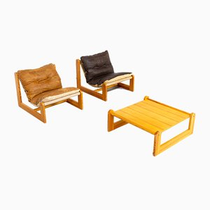 Pine & Leather Lounge Chairs, 1970s, Set of 3