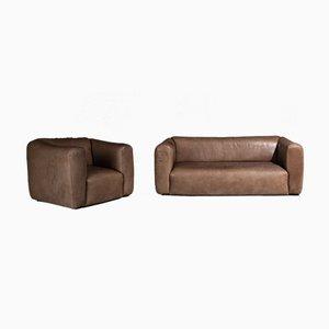 2-Sitzer Sofa und Sessel aus Leder, 1970er, 2er Set