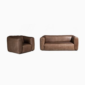 Leather 2-Seater Sofa and Armchair, 1970s, Set of 2