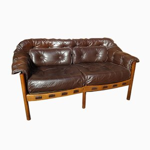 Vintage Danish Teak & Brown Leather Sofa by Arne Norell, 1960s