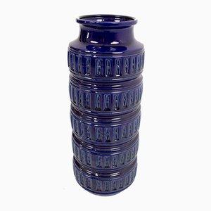 Tall German Dark Blue Ceramic Vase by Scheurich, 1970s