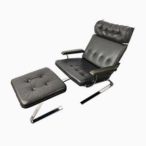 Mid-Century German Black Leather & Chrome Armchair & Ottoman, 1960s, Set of 2