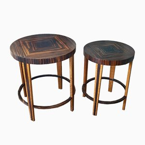 Dutch Art Deco Oak & Macassar Ebony Side Tables, 1920s, Set of 2