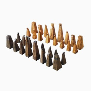 Olive Wood Chess Set, Israel, 1950s