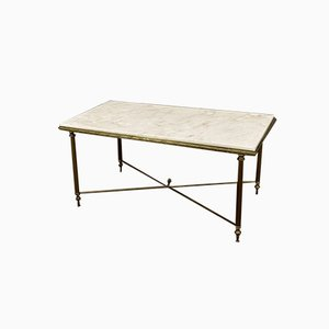 Mid-Century Marble & Brass Coffee Table in the Style of Maison Jansen, 1970s