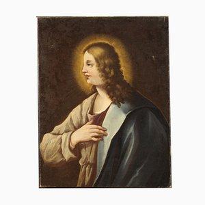 Peinture Religieuse Antique, 18ème Siècle, Buste d'un Saint