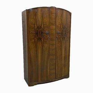English Art Deco Walnut Wardrobe, 1960s