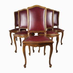 Regency Style Kunstleder Esszimmerstühle, 1950er, 6er Set