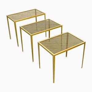 Mid-Century German Brass Coffee Tables from Vereinigte Werkstätten, 1960s, Set of 3