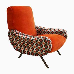Italian Cotton & Velvet Lady Armchair by Marco Zanuso for Arflex, 1950s