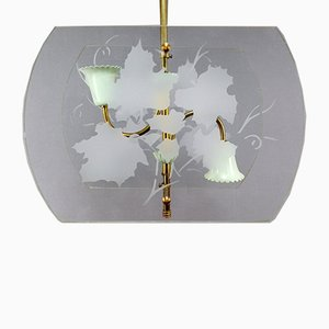 Italian Pietro Chiesa Style Brass & Glass 2-Light Ceiling Lamp, 1940s