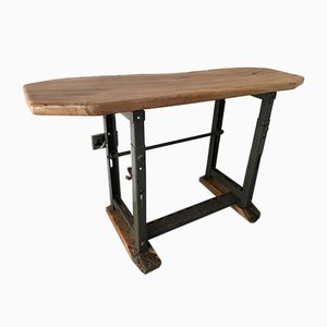 Antique Industrial Iron Hall Table with Wooden Top from Singer, 1920s