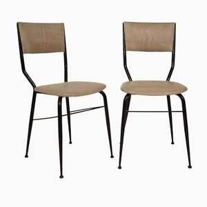 Italian Black Metal and Gray Leather Dining Chairs, 1950s, Set of 2