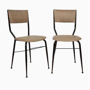 Italienische Esszimmerstühle aus Schwarzem Metall & Grauem Leder, 1950er, 2er Set