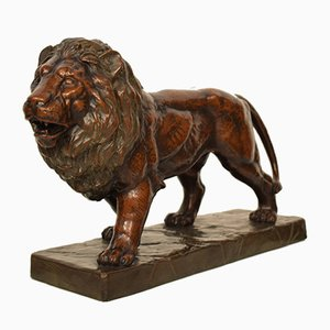 Big German Art Deco Lion Sculpture in Ceramic, Terracotta Copper, 1930