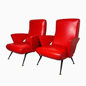 Italienische Rote Vintage Sessel, 1950er, 2er Set