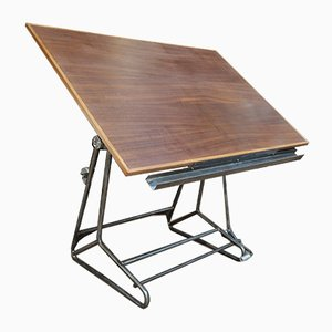 Adjustable Metal & Mahogany Architect's Worktable, 1950s