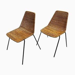 Vintage Rattan Metal Chairs by Gian Franco Legler, 1970s