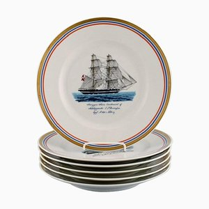 Plates with Schooners from Royal Copenhagen, 1960s, Set of 6