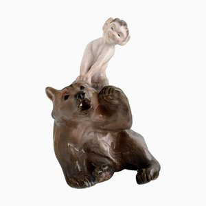 Faun Pulling Bear's Ear Porcelain Figurine from Royal Copenhagen, 1920s