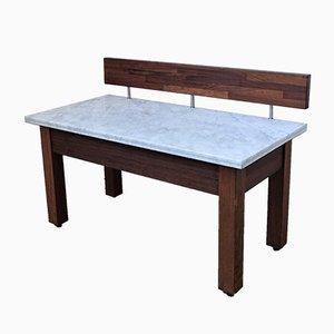 Tavolo da lavoro vintage con ripiano in marmo
