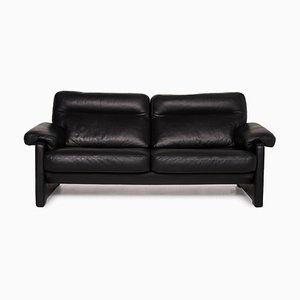 Model Ds 70 Black Leather 3-Seater Sofa from de Sede