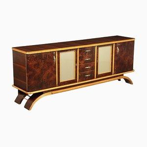 Maple in Walnut Burl & Glass Cabinet, 1940s