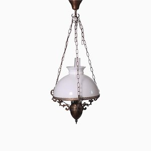 Lampadario in ottone e vetro