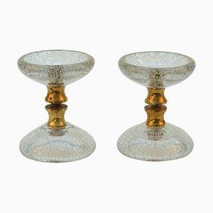 Clear Round Murano Glass Double Door Handles with Brass Fixtures, Set of 2