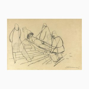 Mino Maccari - Feeling Faint - Original Kohlezeichnung - 1950er Jahre