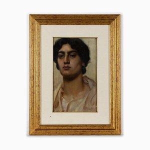 Unknown - Portrait eines Jungen - Original Öl auf Holzplatte - Frühes 20. Jahrhundert