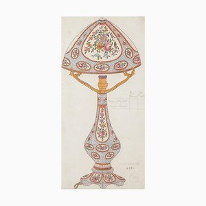 Unknown - Porcelain Lamp - Original Watercolor and Ink Drawing - 1880s