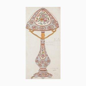 Unknown - Porzellan Lampe - Original Aquarell und Tusche Zeichnung - 1880er