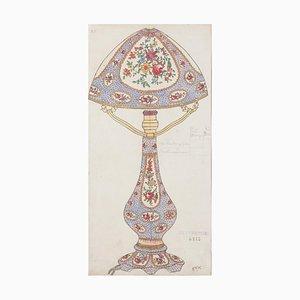 Lampe Inconnue en Porcelaine - Aquarelle Originale et Dessin à l'Encre - 1890s