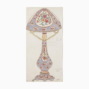 Unknown - Porcelain Lamp - Original Watercolor and Ink Drawing - 1890s