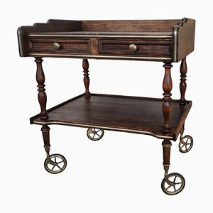 Art Deco Italian Regency Wood and Brass Two-Tier Dry Bar Cabinet Cart