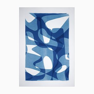 Jazzy Fifties Shapes, Blue Tones Vibrant Forms, Monotype, Cyanotype on Paper, 2021