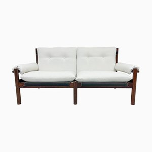 Scandinavian 2-Seat White Textile and Stained Wood Sofa