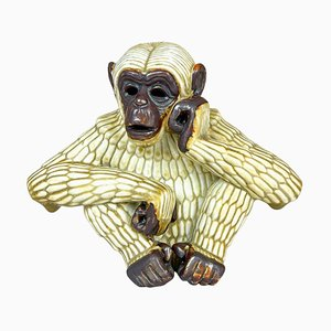 ThInking Ape Sculpture by Gunnar Nylund for Rörstrand, Sweden, 1950s