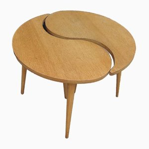 Mid-Century Oak Coffee Table Divisible in 2, 1950s